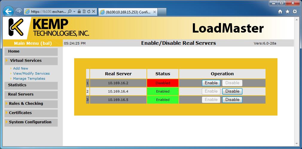 using kemp loadmaster with exchange server 2010